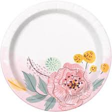 Pink Flower Paper Plates Soft Pink Painted Floral Paper Dessert Plates 7in 8ct Walmart Com