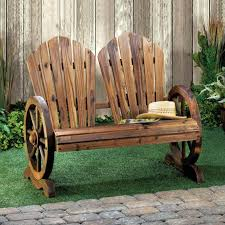 slat-back wagon wheel rustic bench