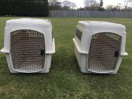 2 x large plastic kennel crate airplane travel for dog cat safe durable will separate if req