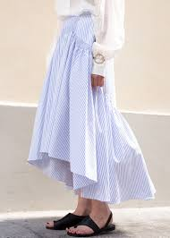 Light Blue Striped Skirt Newarrivals Light Blue Striped Pleated Midi Skirt
