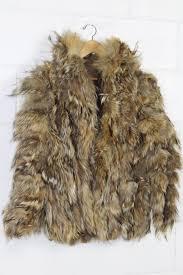 image 1 of 2 grey and light brown fur coat