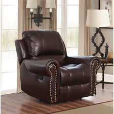 Abbyson Hogan Italian Leather Reclining Chair with Nailheads | Hayneedle