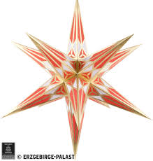 Hartenstein Christmas Star For Inside Use White Red With Gold 68 Cm 27 Inch