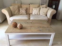 Ikea Lack coffee table hack with some wood and dye