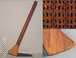 hawaiian adze. traditionally, master craftsmen carved these shafts using shark teeth, shells or sharp stone. post-contact, metal tools were also used. hawaiian adze