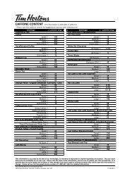 Allergy Chart Tim Hortons