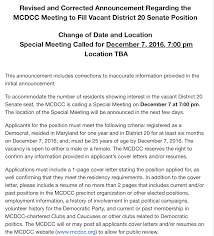 Revised Mcdcc D20 Vacancy Announcement – Maryland Scramble