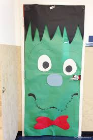 classroom door decorations halloween.  Halloween Simple Frankenstein Door Idea  Quick And Easy Halloween Classroom  Decorations OneCreativeMommycom With R