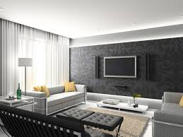 Fabulous living room wallpaper design with neutral sofa and wooden furniture