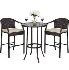 3 piece outdoor bistro wicker table bar