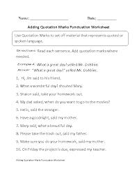 Punctuation Worksheets Adding Quotation Marks Worksheet