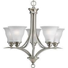 progress lighting 5 light chandelier trinity p4328 09 brushed nickel new