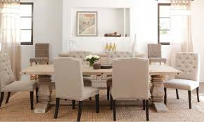 7 pieces dinette in white theme using tufted white fabric dining chair including rectangular red