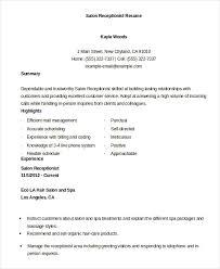 Salon Receptionist Re Salon Receptionist Resume Stunning Resume