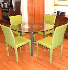 Crate And Barrel Glass Dining Table Crate Barrel Glass Dining Table And Folio Leather Chair Set Ebth