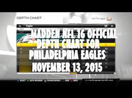 2015 Philadelphia Eagles Depth Chart Madden Nfl 16 Official Depth Chart For Philadelphia Eagles 11 13 2015