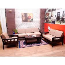 Wooden Sofa Sets For Living Room Induscraft 6 Seater Sofa Set With Centre Table Sofas Homeshop18