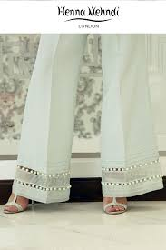 Pakistani Designer Pants Mint Embellished Trousers Salwar Pants Fashion Pants
