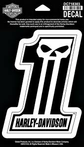 harley davidson 1 skull medium decal black and white dc718303
