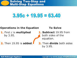 operations in the equation 6 example 1a solving two step equations