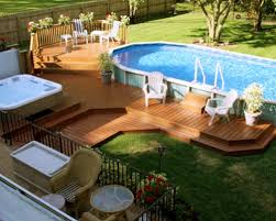 Tiered Composite Wooden Pool Deck For Above Ground Pool With Outdoor  Seating Area And Hot Tub