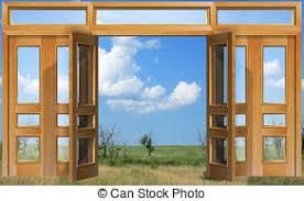 open doors clipart. Opened To Sky Door - Open Doors Against The Background. Clipart C
