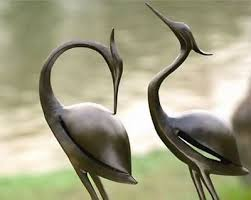outdoor garden statues. Metal Heron Garden Ornament Statue Outdoor Decor Sculpture Bird Pair Statues M