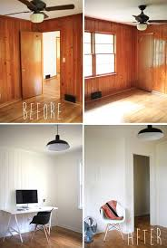 painted wood panelling - before and after. Plan to paint the attic paneling  white to make the room bigger