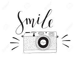 レタリングの笑顔写真カメラベクトルは手描き下ろしイラストです