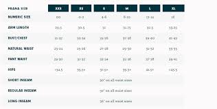 Prana Clothing Size Chart Sturtevants