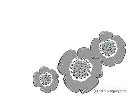 フリー素材北欧デザインのグレーのケシの花のイラスト640480pix Web