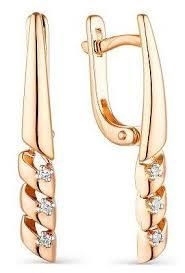 АЛЬКОР <b>Серьги с 6</b> бриллиантами из красного золота 23600-100