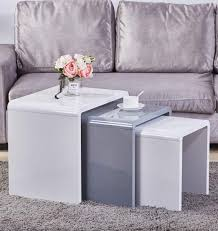 goldfan nest of 3 tables high gloss coffee table set nesting tables wood coffee table living room end side tables multi functional side table white gray