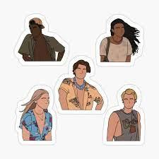 Outer Banks: John B, Kiara, JJ, Pope, Sarah Sticker Pack Sticker by Jamie  Maher | Adesivos bonitos, Adesivos sticker, Desenhos adesivos