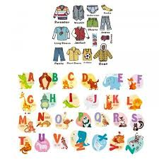 boys clothing label and alphabet wall