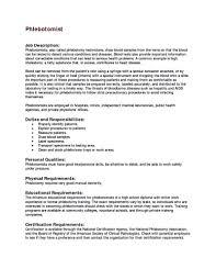 Phlebotomist Job Description For Resume Elegant Entry Level