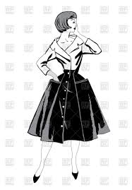Stylish Fashion Girl In 60s Style Retro Woman Stock Vector Image