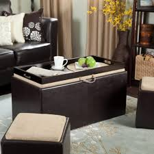 ottoman coffee tables living room. coffee table, beautiful dark brown rectangle modern leather table with ottomans and wooden tray ottoman tables living room g