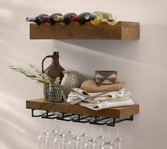 wine glass rack pottery barn. Brilliant Pottery Rustic Wood Entertaining Shelves  Pottery Barn 89189 And Wine Glass Rack A