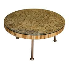 teak root round coffee table glass top with chrome legs