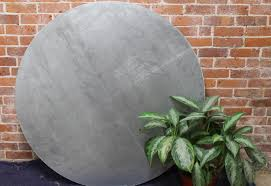 48 inch round zinc table with black phoenix