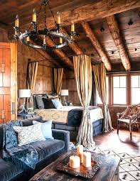 Decorations:Log Cabin Style With Hunting Living Room Also Tribal Rug And  Native American Decor