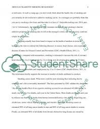 should cigarette smoking be banned essay example topics and well   text preview