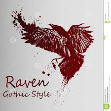 Crow Tattoo Dark Red Gradient Sketch Stock Vector Illustration