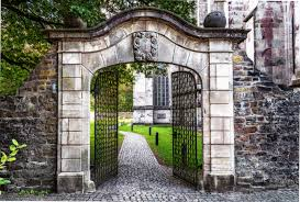 free images path open architecture mansion old home arch cottage facade property stone wall garden gate door goal artwork patch