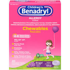Childrens Benadryl Antihistamine Allergy Relief Chewables Grape 20 Ct