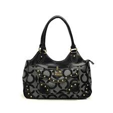 Coach Logo Stud Medium Grey Satchels DGV3327