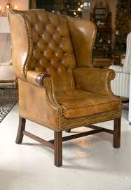 fabulous leather wingback chair for your living room design traditional caramel leather wingback chairwith tufted