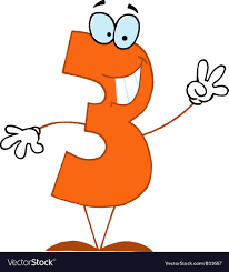 funny cartoon numbers 3 vector image