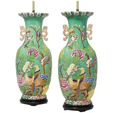 pair of english 19th 20th century chinoiserie style porcelain vases table lamps for